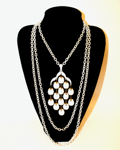 1960's TRIFARI white waterfall necklace