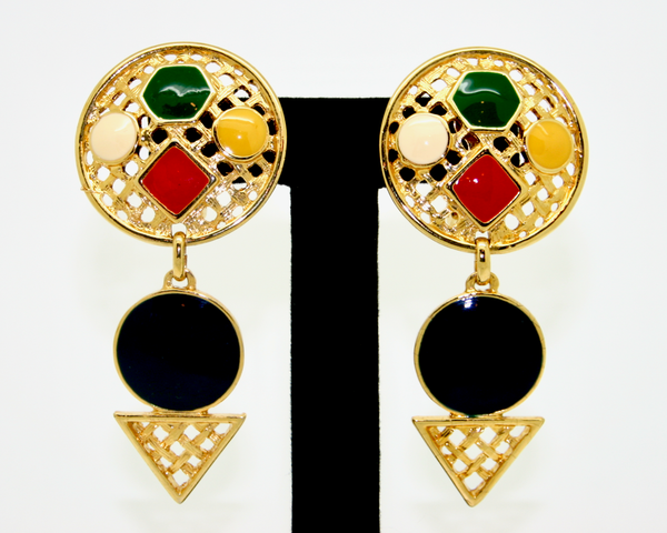1980's LeRitz multi colour enamel triangle drop earrings