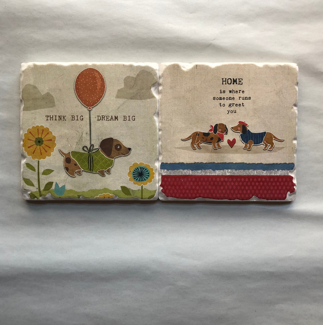 Set of 2 Ceramic Coasters