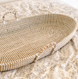 Baby Changing Basket with Foam Diaper Pad and Sheet, Handmade Seagrass Changing Basket, Newborn Wicker Changing Basket