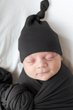 Swaddle Blanket and Hat Set - Black