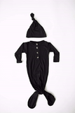 newborn baby gown and hat set black baby swaddle baby nightgown