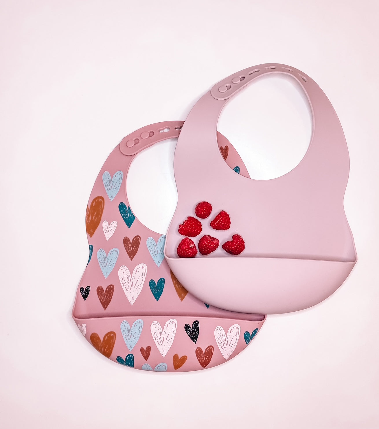 Silicone Bibs - Hearts and Dusty Rose