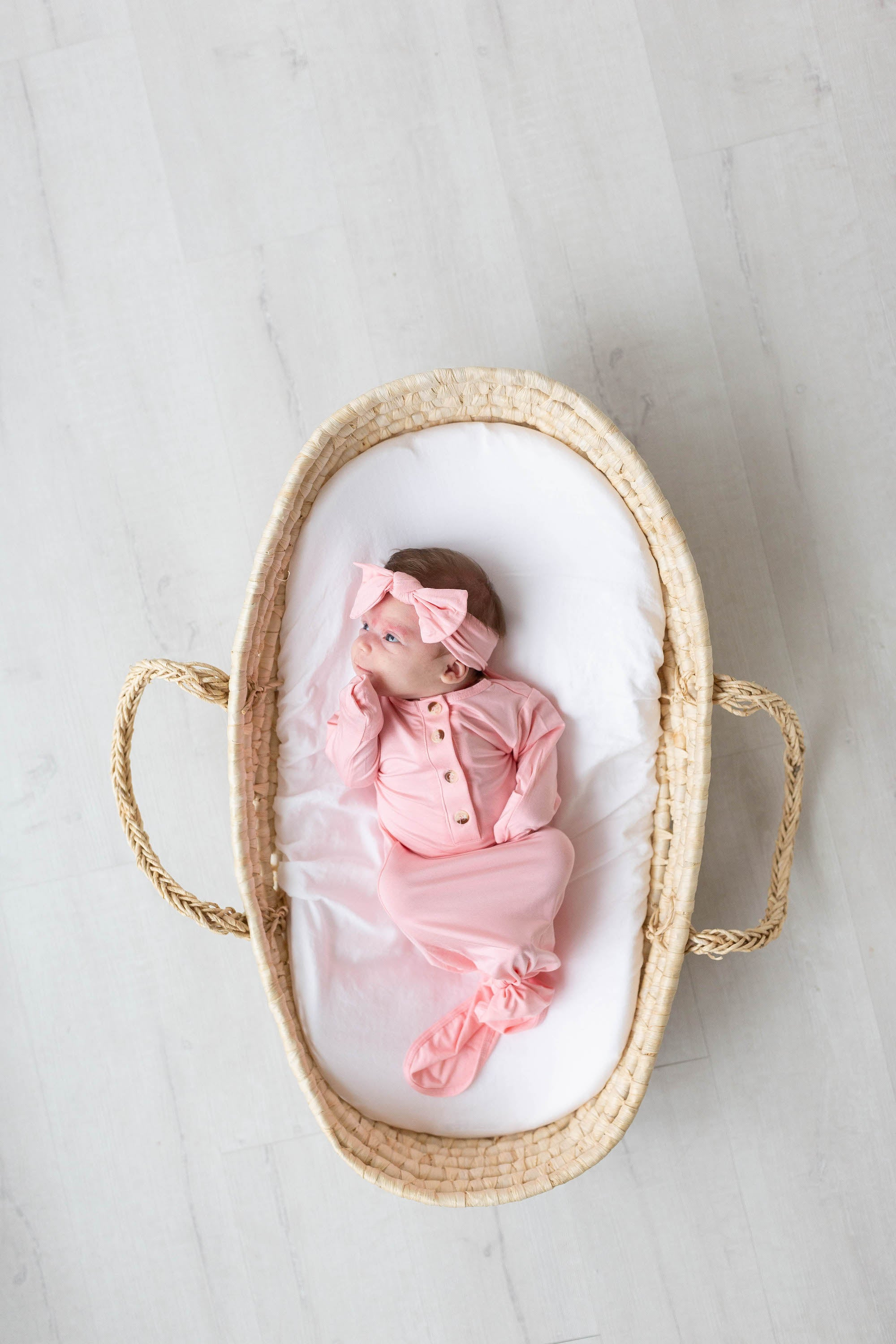 Knotted Baby Gown, Hat & Headband Set - Pink (Newborn-3 months)