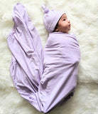 Swaddle Blanket, Hat and Headband Set - Purple