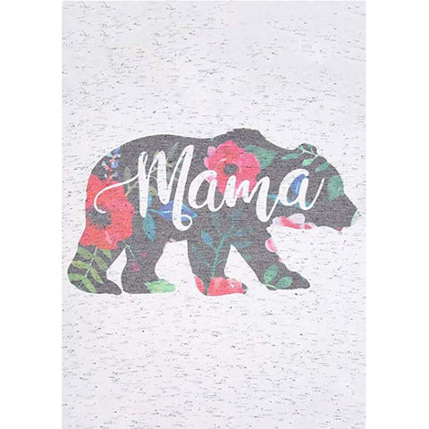 Women's Mama Bear Floral Printed Short Sleeve V-Neck Tee