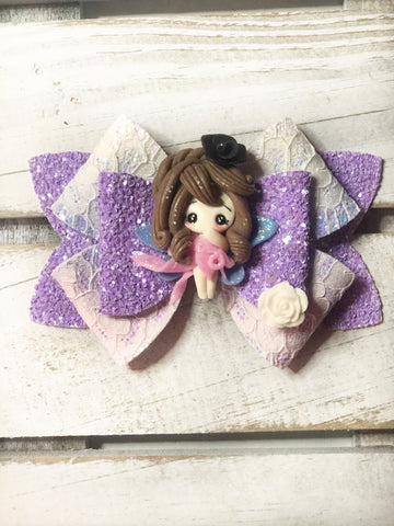 Purple Fairy Clay Bow