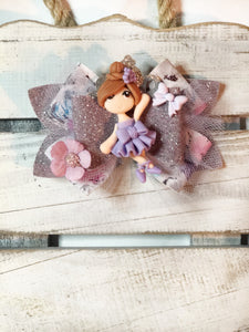 Purple Ballet Girl Clay Bow