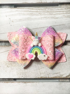 Rainbow Unicorn Clay Bow
