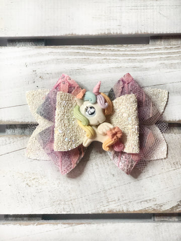 Soft Pastel Unicorn Clay Bow