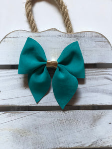 Velvet Teal Sailor Bow