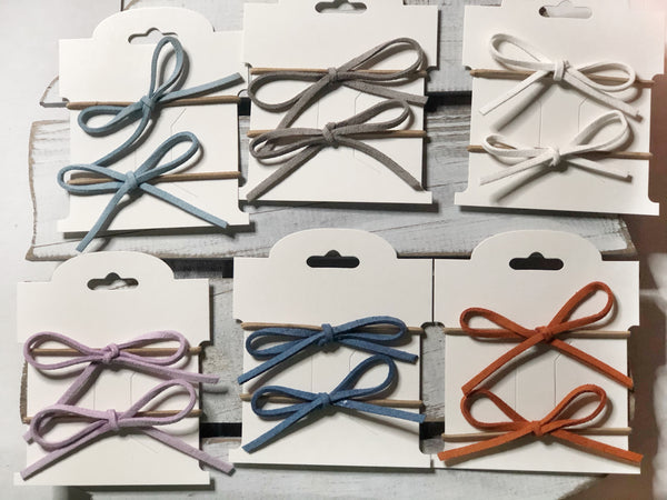 Suede bow hair ties