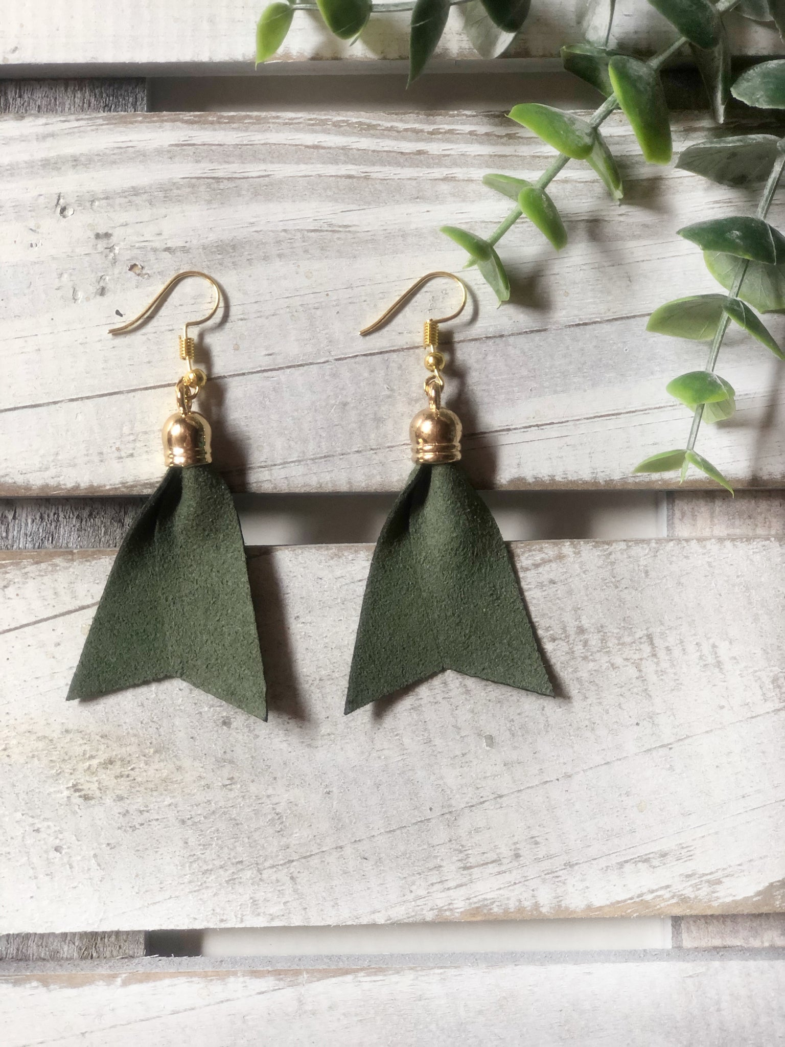 Khaki Green Suede Earrings
