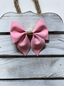 Velvet Baby Pink Sailor Bow