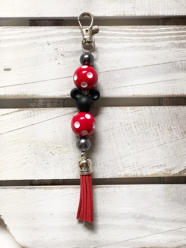 key ring with long tassel - red/ polka dot mickey