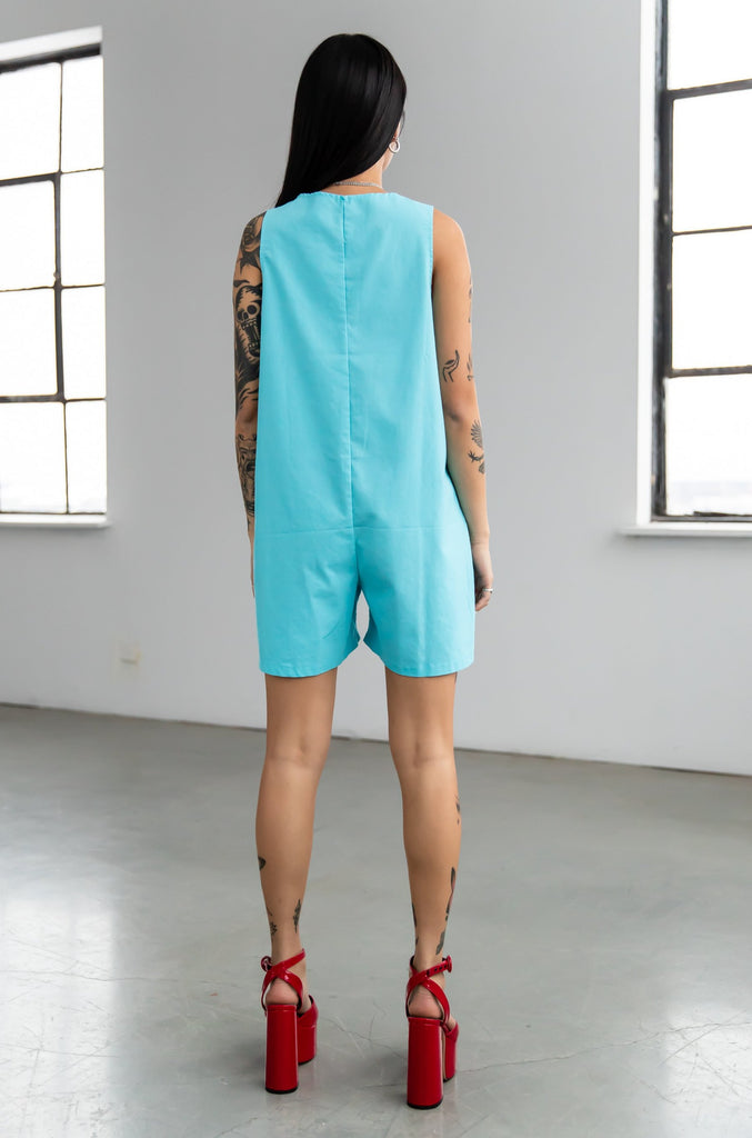 1960's Vintage Blue Cotton Romper