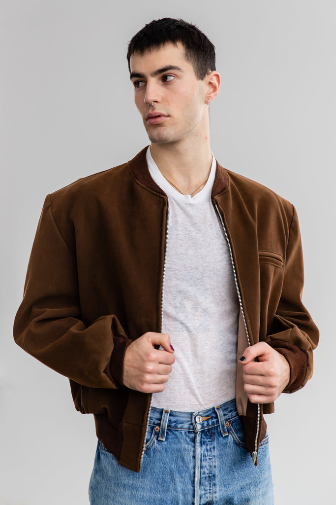 1960's Brown Vegan, Faux Suede Bomber By Federan (Men's Large)