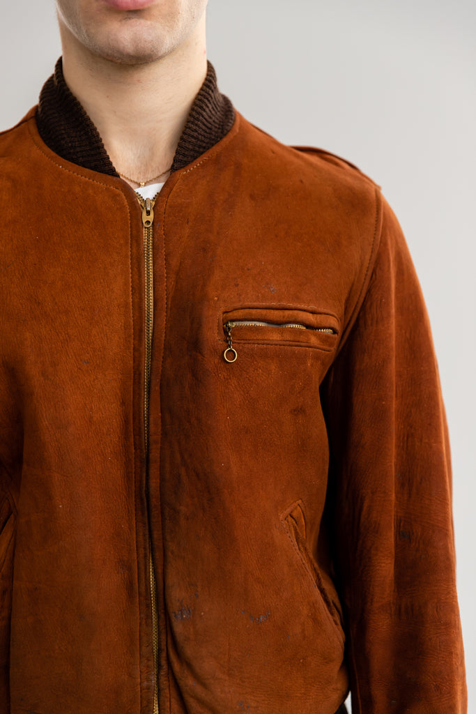 1960's Cognac Suede Bomber Jacket By Craft Of Canada