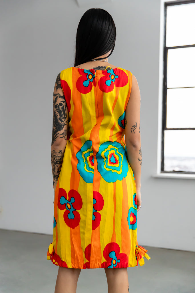 1960's Yellow Mod Balloon Dress with Flower