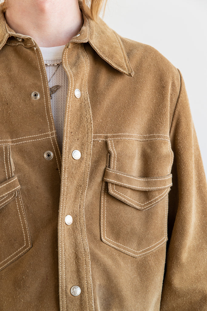 1970's Beige Heavy Suede Button Snap Jacket by Desert Classic Los Angeles (Men's Large)