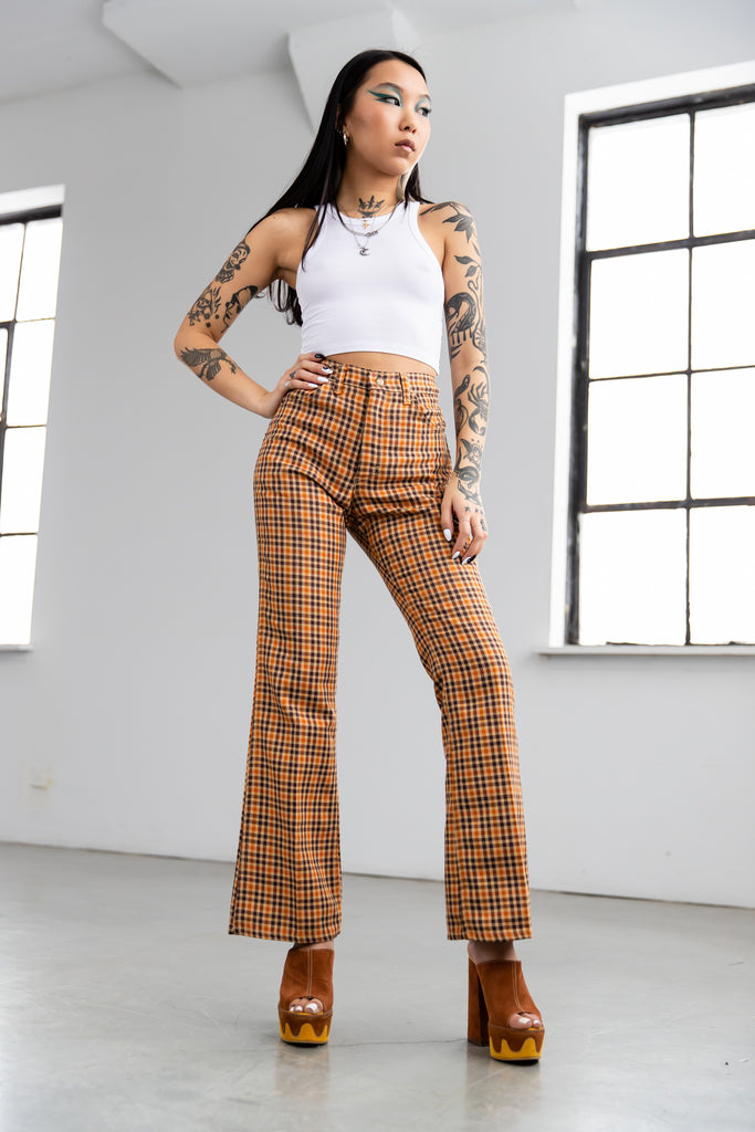 1970's Lee Riders Flared plaid Pants Made in USA