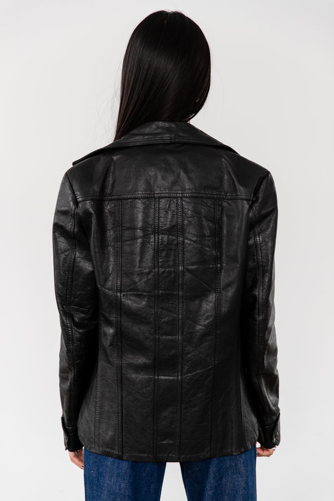1970's Disco Black Leather Jacket With Dagger Collar