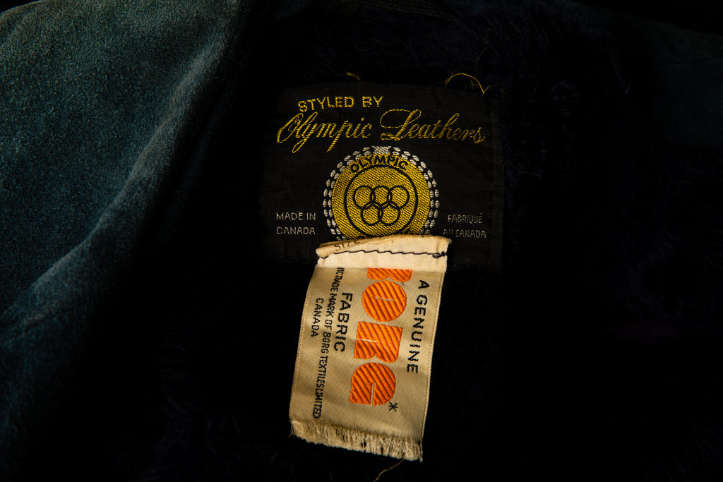1970's Blue Heavy Suede Fleece Lined Jacket by Olympics Leather