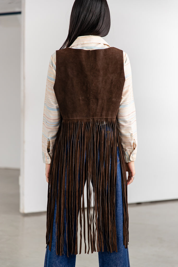 1970's Vintage Brown Super Long Fringed Suede Vest