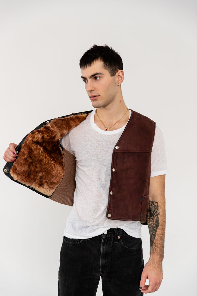1970's Brown Thick Shearling Sheepskin Vest