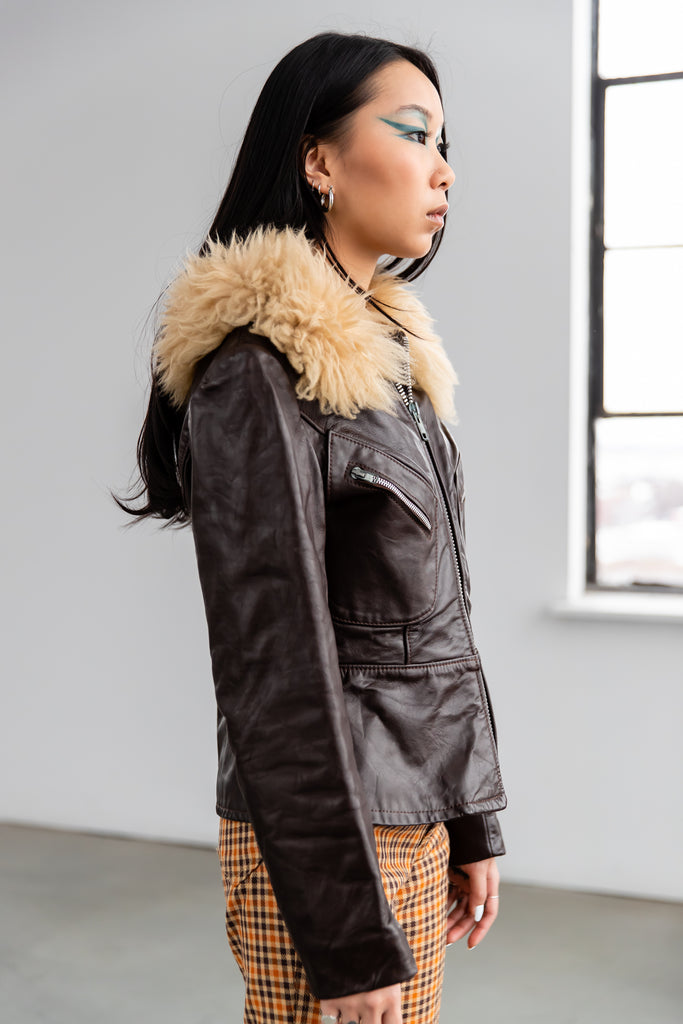 1970's Chocolate Brown Leather Jacket With Sheep Shearling Fur Collar