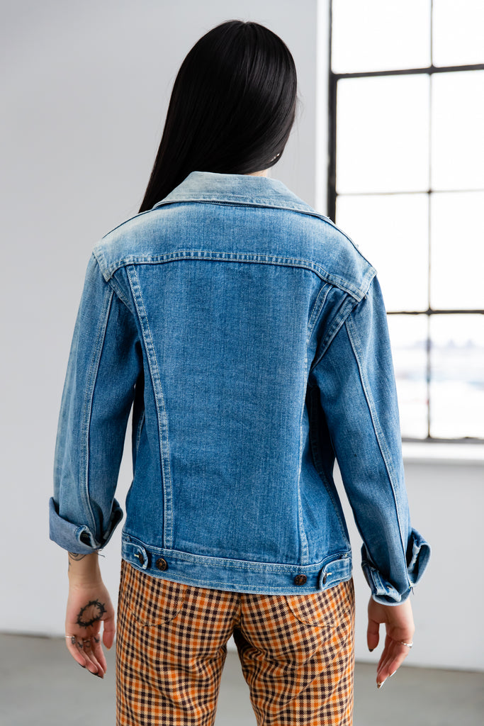 1970's Sun Bleach Denim Jean jacket With Dagger Collar by Pigale