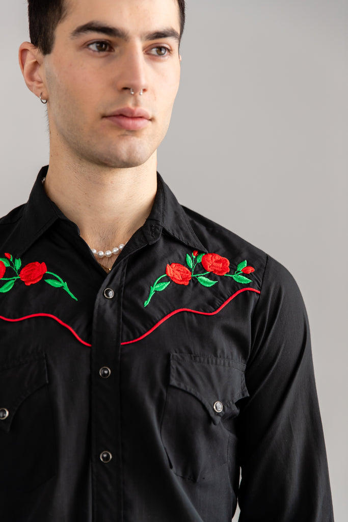 1980's Black Western Roses Embroidered Button up Shirt by Sheplers