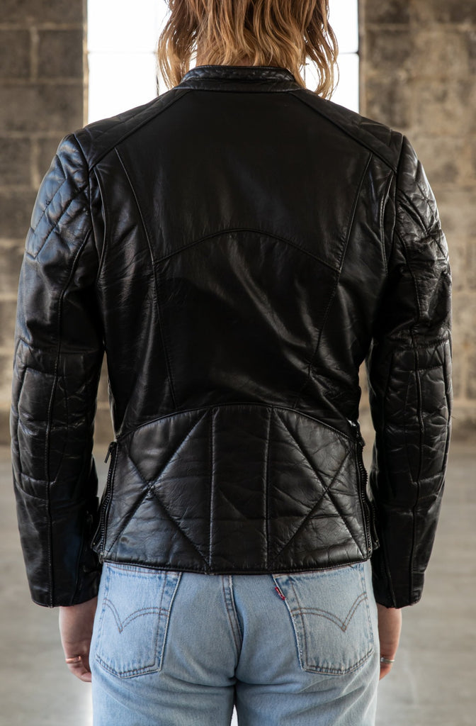 1980's Leather Cafe Racer Biker Leather Jacket by Angora