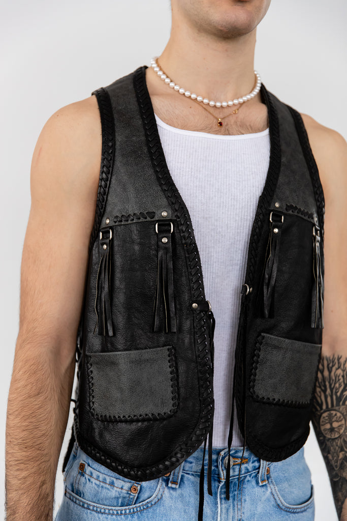 1980's Vintage Black Leather Tassel Fringe Vest