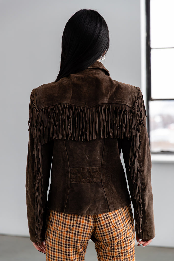 1980's Brown Heavy Suede With Fringe Western Fitted Jacket