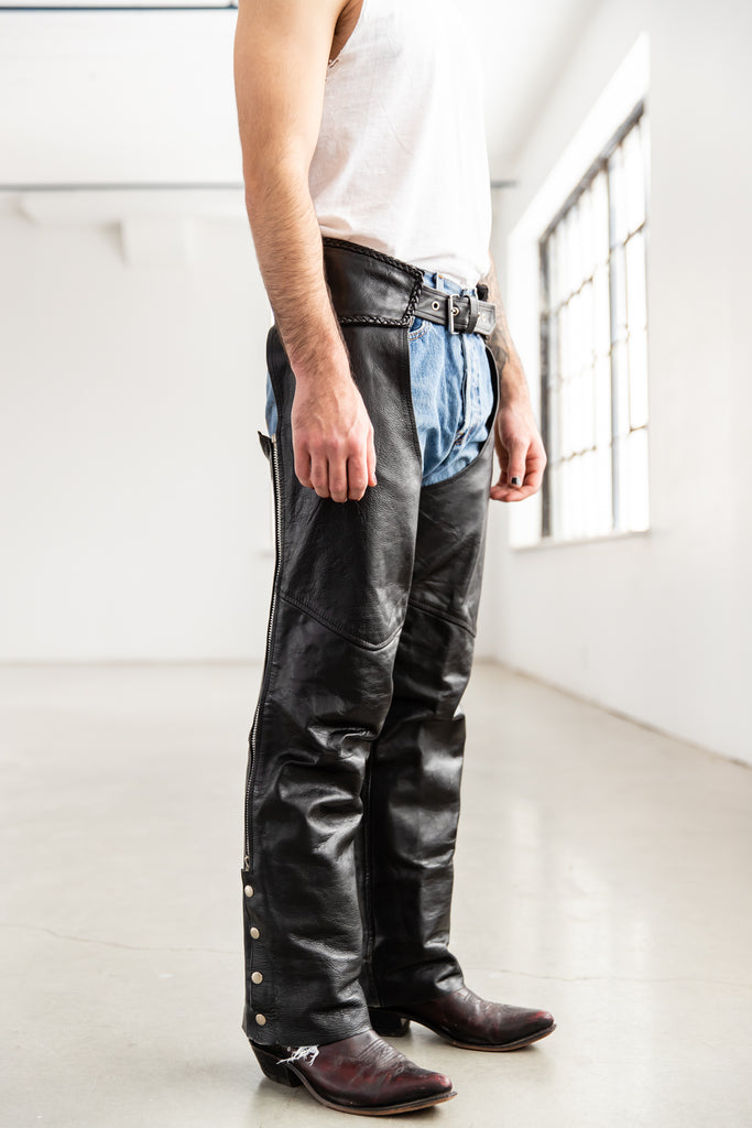 1980's Leather Black Chaps