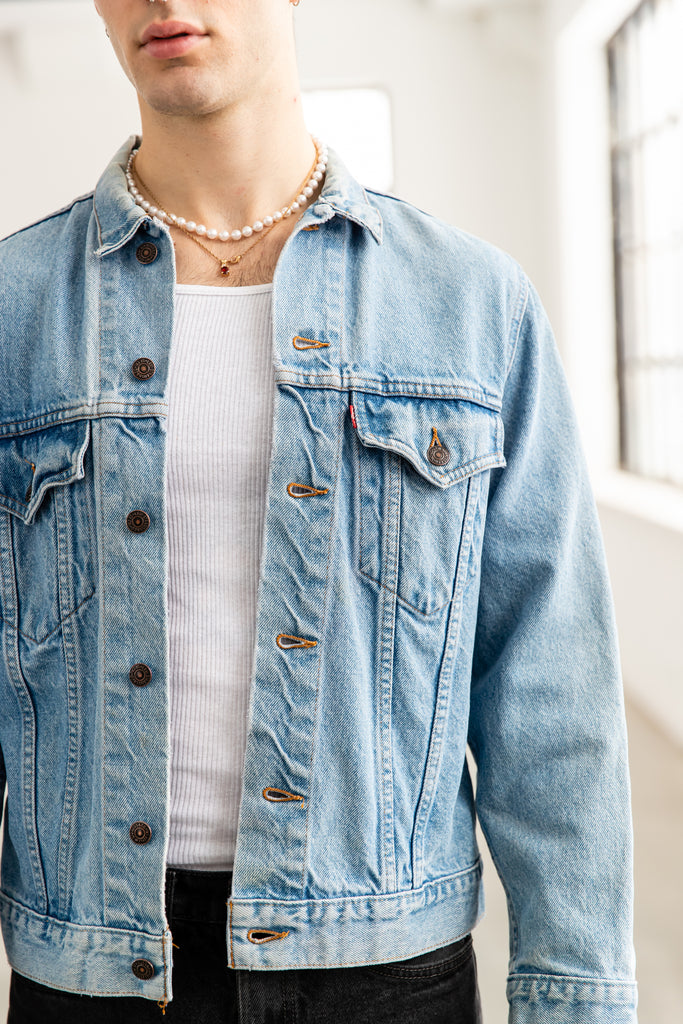 1980's Levi's Trucker Light Wash Denim Jean Jacket