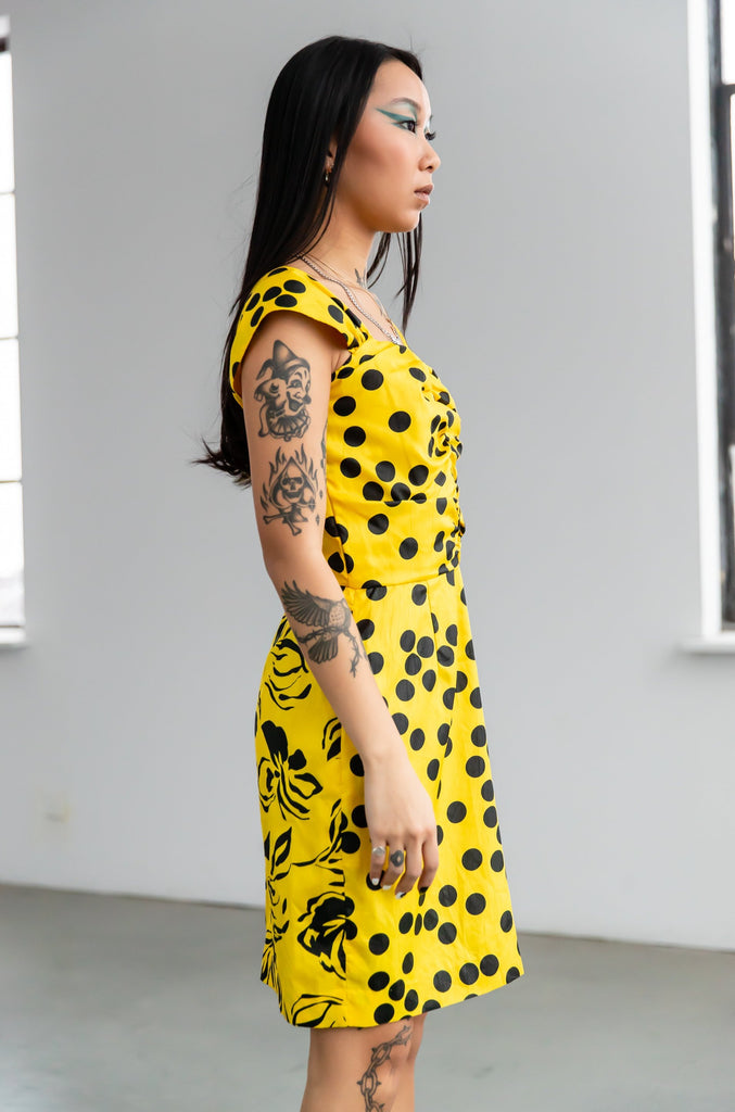 1980's Vintage Yellow Polka Dot Mini Dress with Floral Print