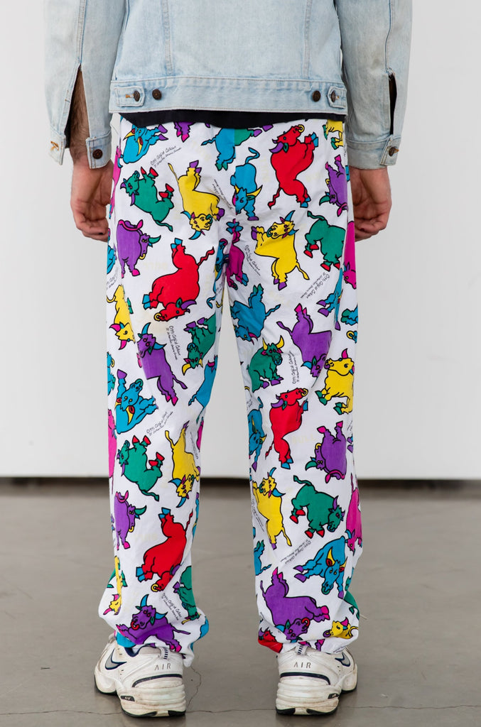 1990's Baggy Cotton Bull Print Draw String Jogger by Catfish Calhoun
