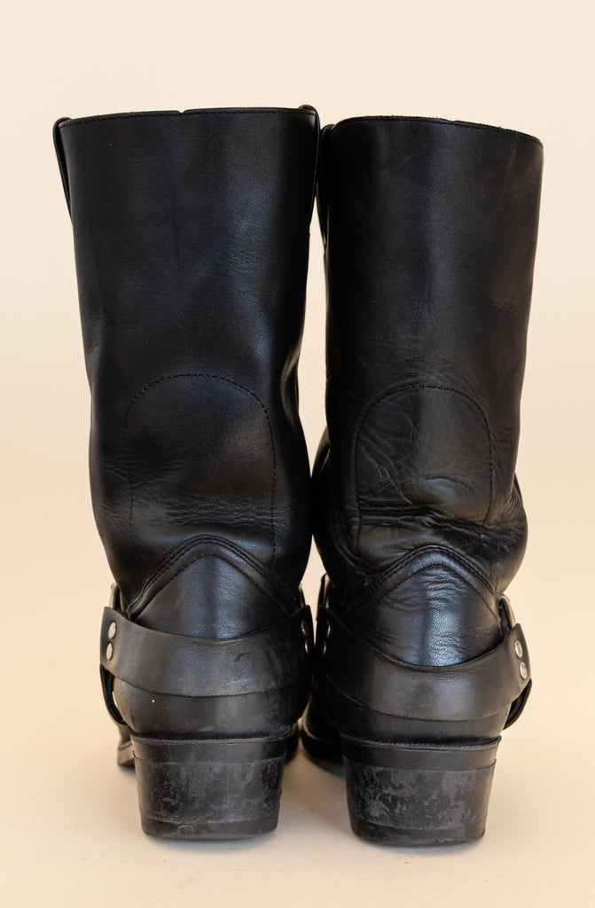 1990's Boulet Black Leather Harness Boots (men's 7.5)