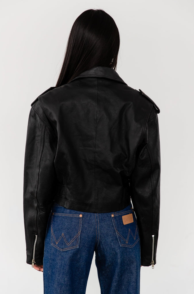 1990's Cropped Classic Black Leather Perfecto Motorcycle Jacket By Wilson's Leather