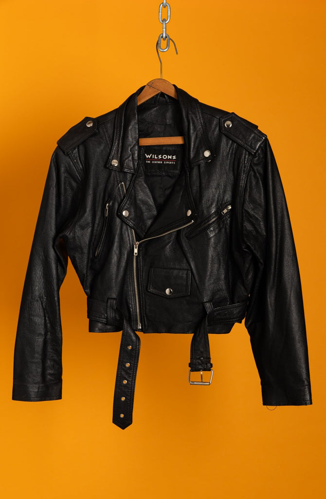 1990's Hot Cropped Black Leather Perfecto Jacket By Wilson