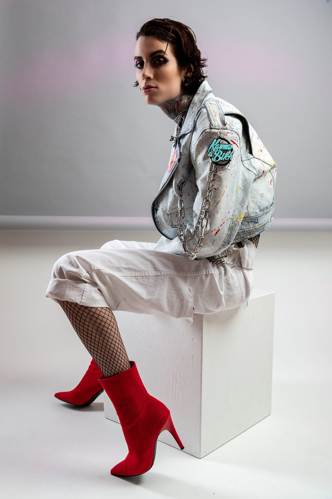 80s, All made from Vintage & or recycled items, Reworked, hand Paint, Jawbreaker, Leather Moto Jacket, (Women's Medium)