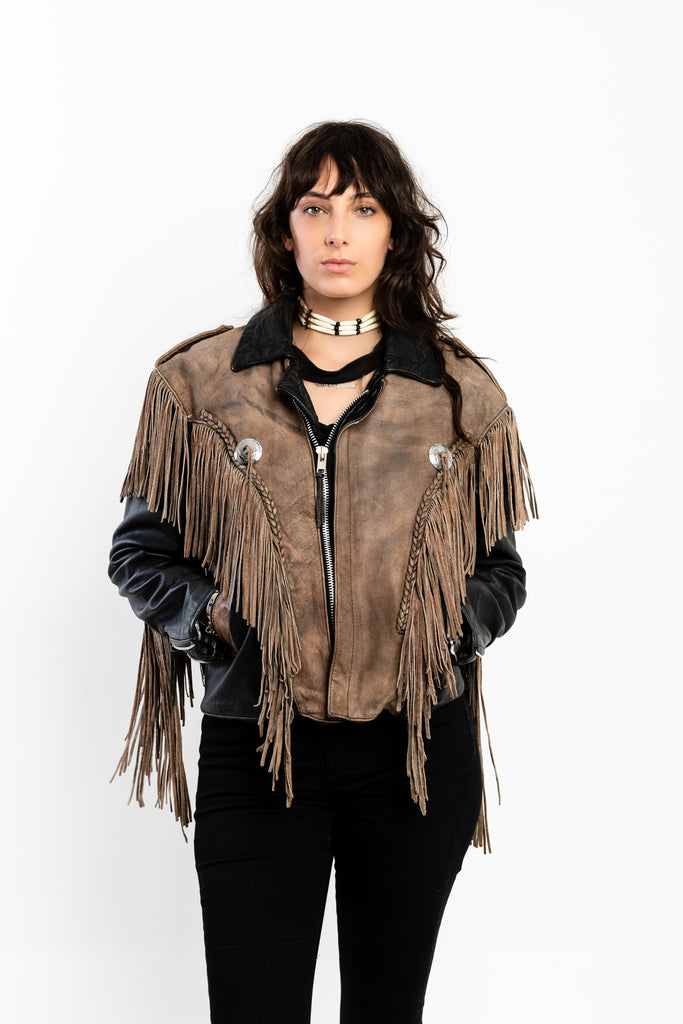 80s, western, Leather Moto Jacket, (Men's Medium-Women's Large)