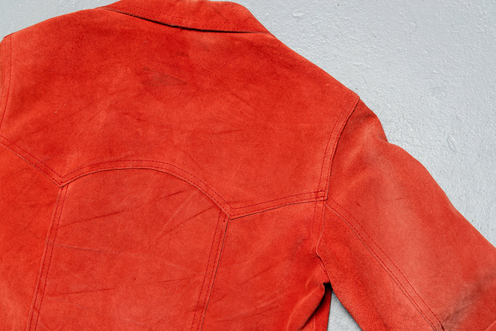 1970 Vintage BURNT ORANGE SUEDE WESTERN JACKET
