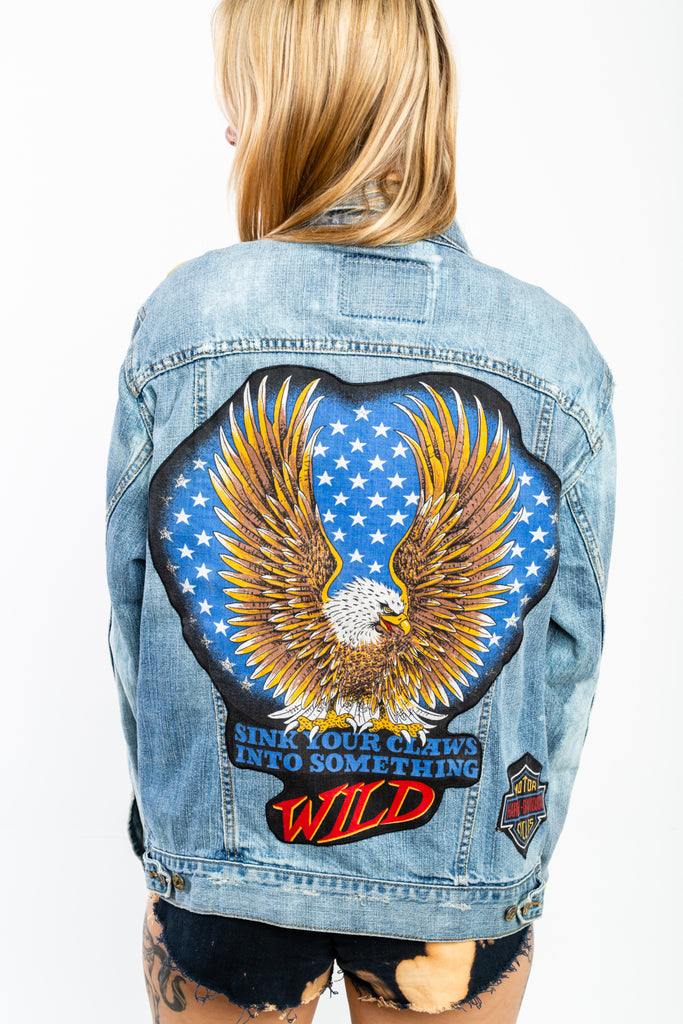 All made from Vintage & or recycled items, LEVI'S,Harley Davidson,Gold Wings,Honda, Homage Jean JACKET. (Men's Medium)
