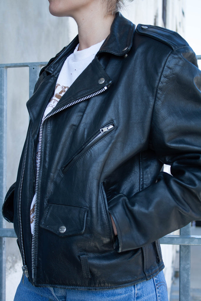 1990's Vintage Open Road Classic Black Leather Moto Biker JACKET (Men's Small)