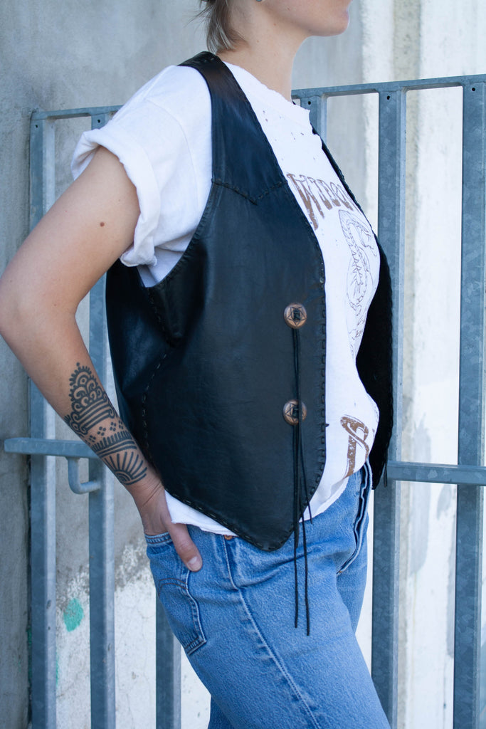 1980's Vintage, Harley-Davidson, Black, Leather Vest (One size)