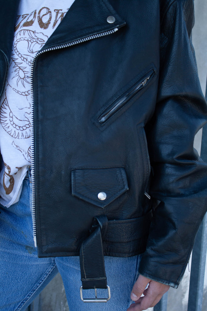 1990's Vintage Classic Black Leather Moto Biker JACKET (Men's Medium - Large)