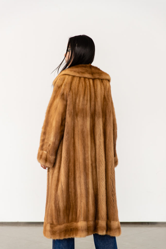 Vintage 1940's Mink Fur Coat Made In Canada Full Length